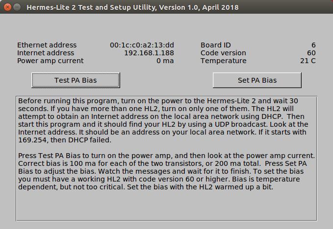 Setup Program for the Hermes-Lite 2